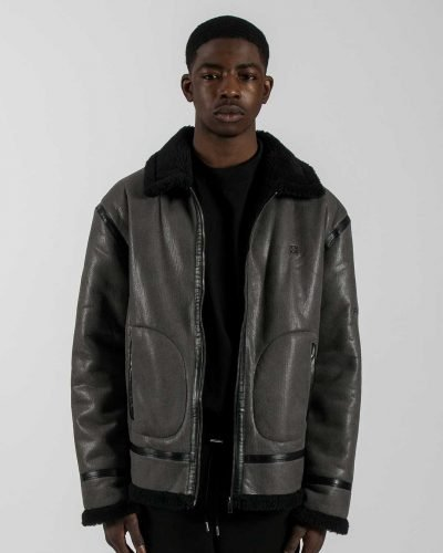 Tactical Grey Shearling Aviator Jacket