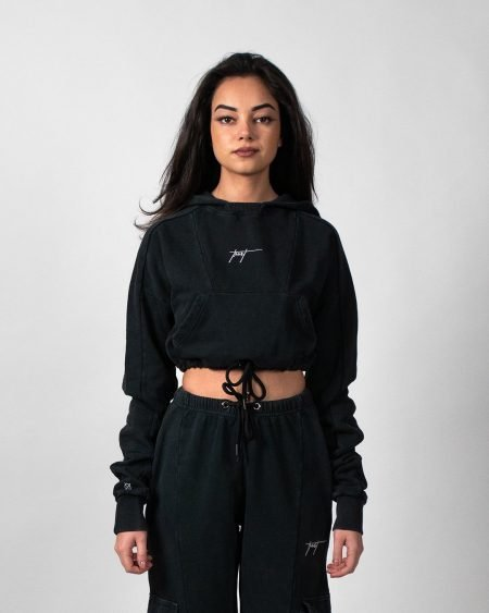 Concrete Stone Washed Cropped Hoodie - Black