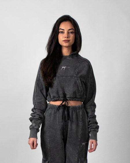 Concrete Stone Washed Cropped Hoodie - Light Grey